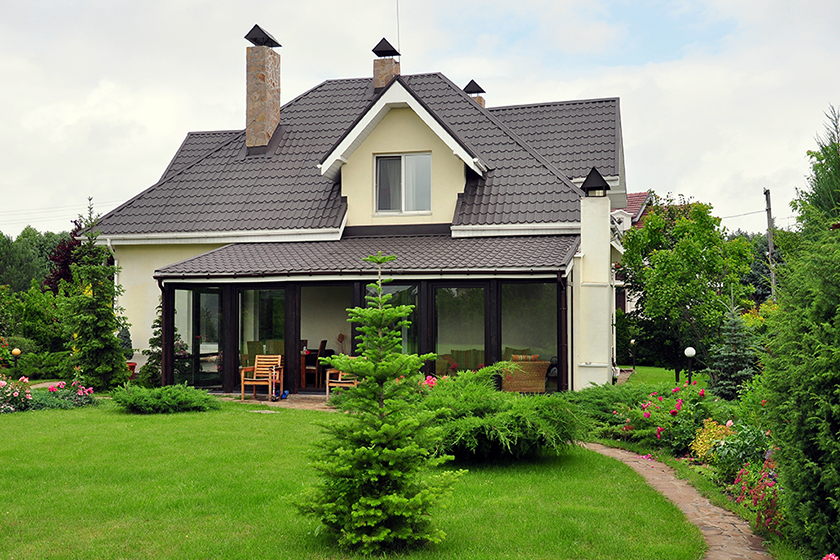house with its garden